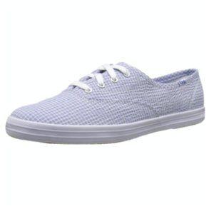 Keds Champion Blue Seersucker Gingham Sneakers